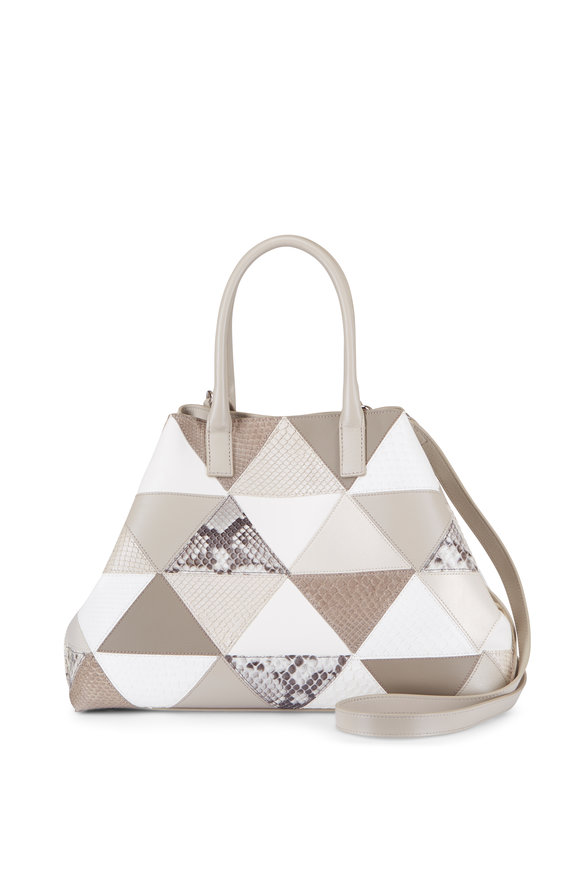 Akris Ai Triangle Natural Leather & Snakeskin Small Bag