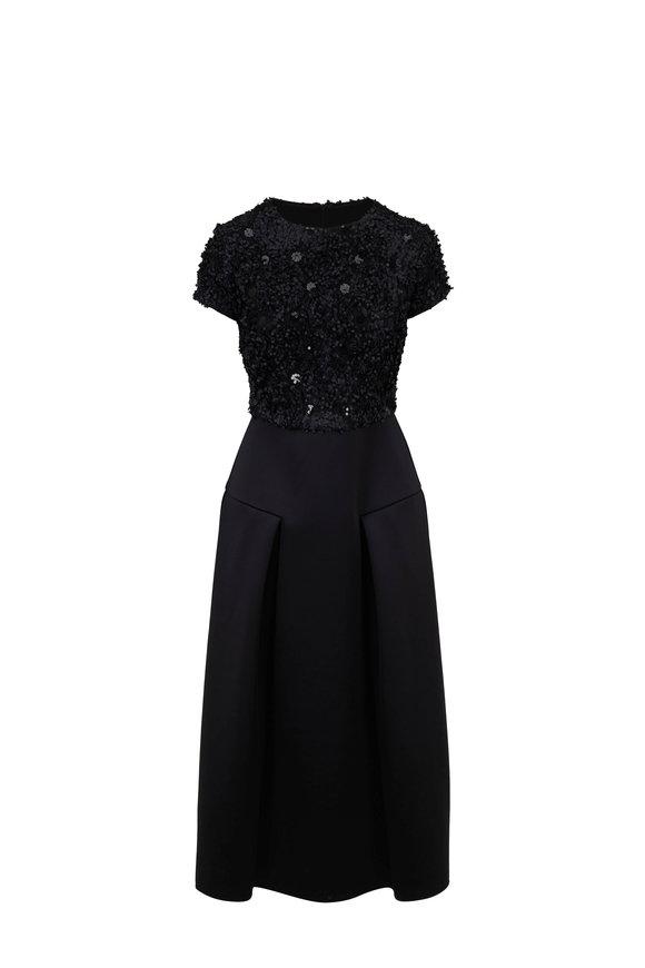 Emporio Armani Black Sequin Top Midi Dress