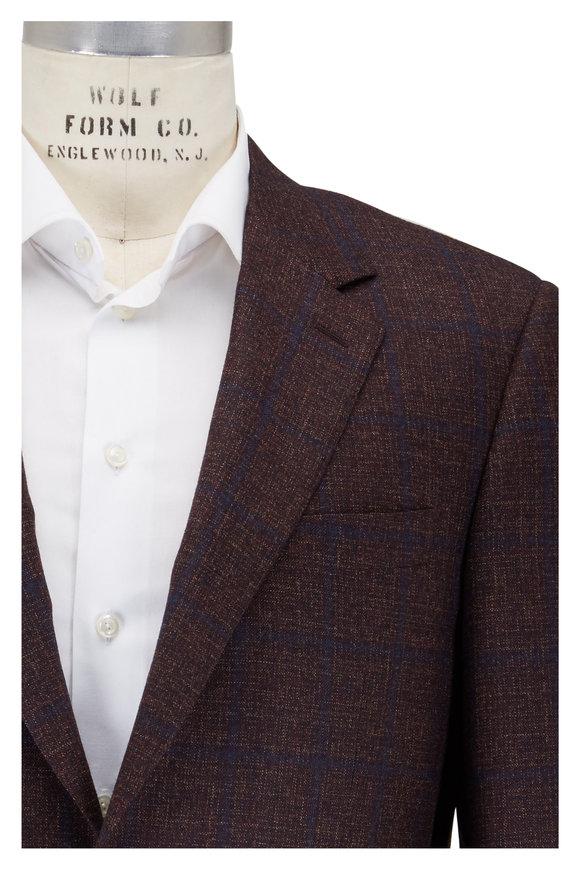 Canali Maroon Wool Melange Sportcoat