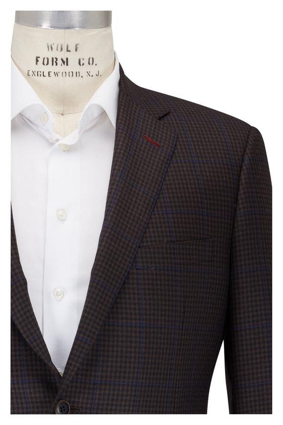 Samuelsohn Bennet Brown & Blue Micro Check Wool Sportcoat