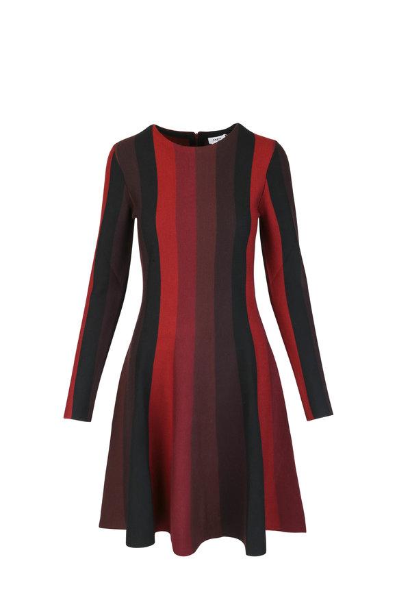 Akris Punto Burgundy Wool Vertical Striped Long Sleeve Dress