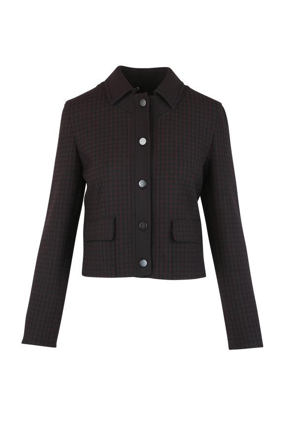 Akris Punto Black Cherry Check Cropped Jacket
