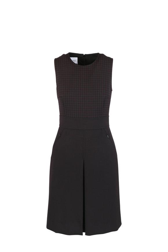 Akris Punto Black Cherry Check Pleated Hem Sleeveless Dress