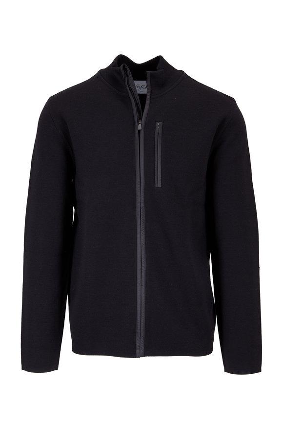 Aztech Mountain Matterhorn Space Black Wool Full-Zip Sweater