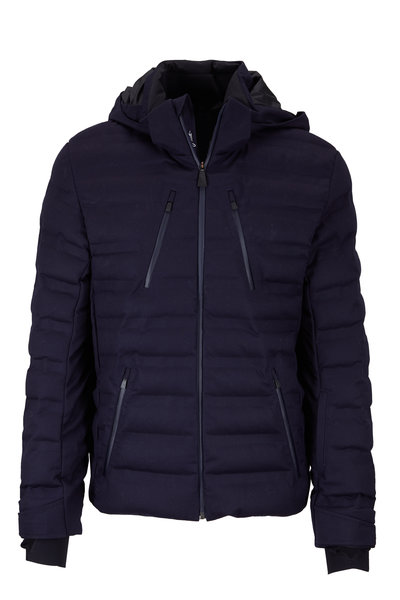 Aztech Mountain - Navy Blue Wool Quilted Jacket With Hood