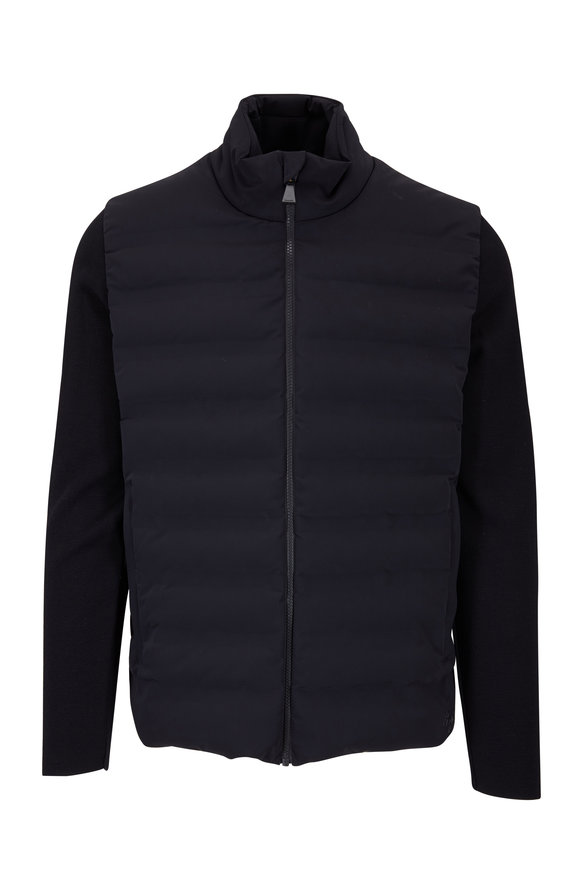 Aztech Mountain Black Nylon Quilted & Wool Knit Sleeve Jacket