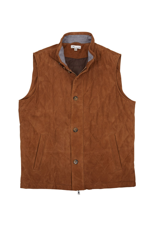 Peter Millar Light Brown Suede Quilted Vest