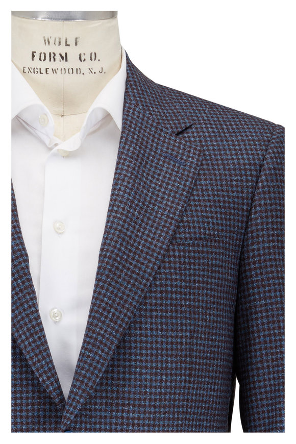 Canali Brown & Blue Wool Check Sportcoat