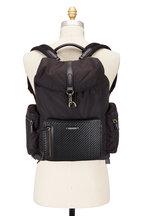 Ermenegildo Zegna - Black Nylon & Pelle Tessuta Backpack