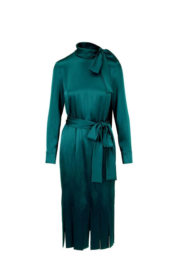Escada Despera Irish Sea Carwash Hem Long Sleeve Dress
