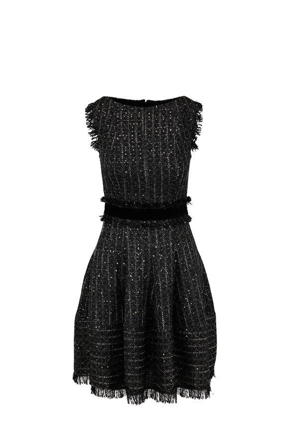 Talbot Runhof Golo Black Silver Metallic Tweed Sleeveless Dress