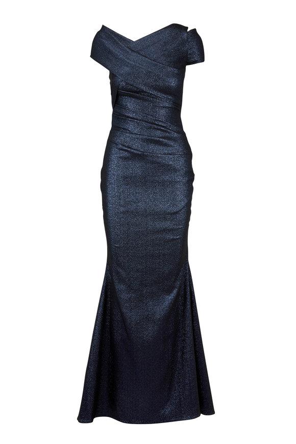 Talbot Runhof Moa10 Navy Blue Metallic Asymmetric Shoulder Gown