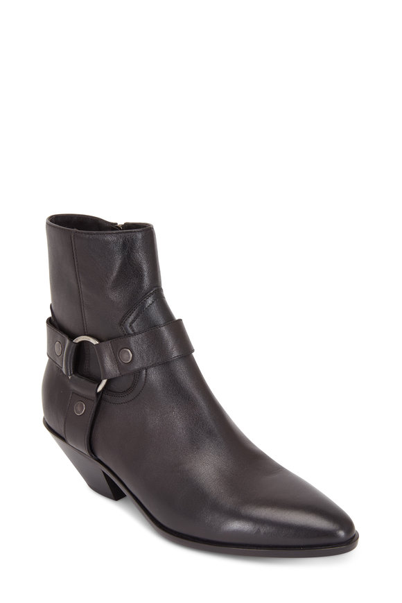 Saint Laurent Lukas West Black Leather Harness Bootie, 45mm