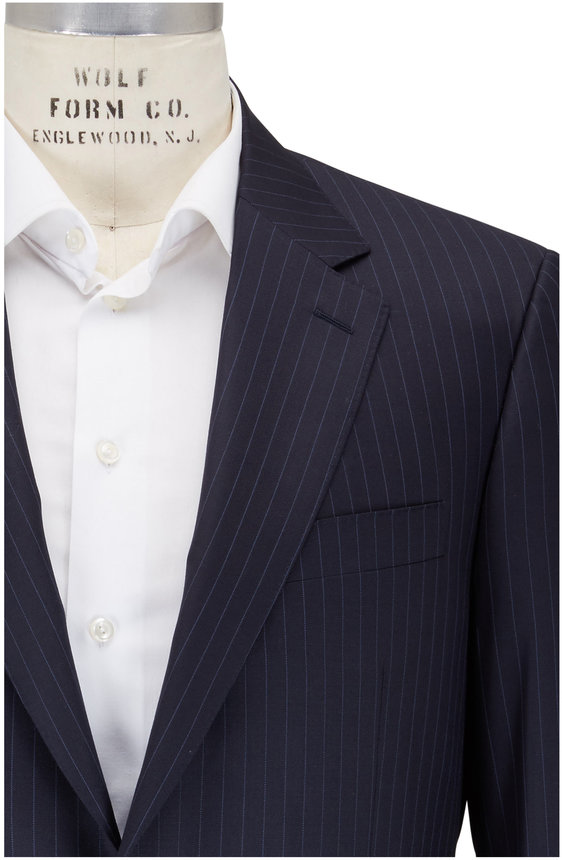Canali Navy Blue Pinstripe Wool Suit