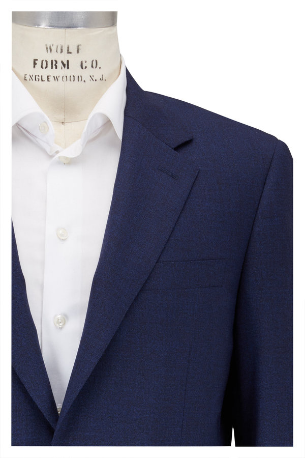 Canali Solid Navy Blue Wool Suit