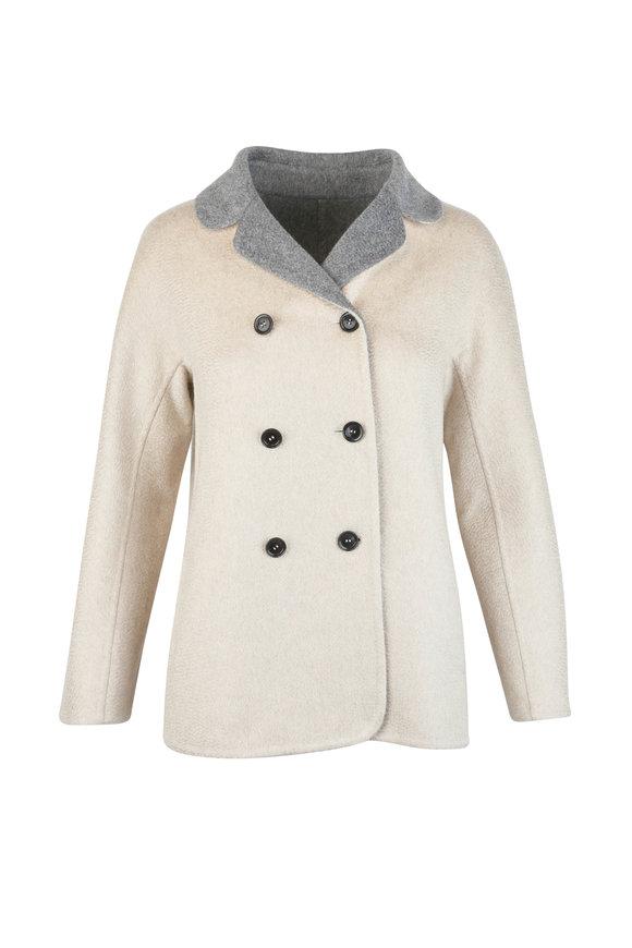 Kiton Ecru & Gray Cashmere Reversible Jacket