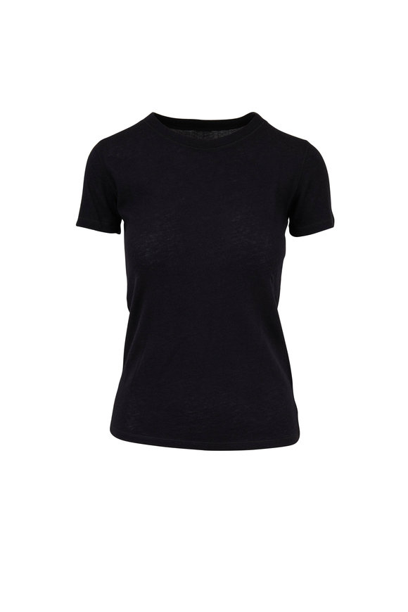 Majestic Black Cashmere Short Sleeve Deluxe T-Shirt