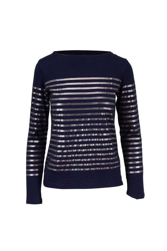 Majestic Navy & Silver Striped Deluxe Long Sleeve T-Shirt