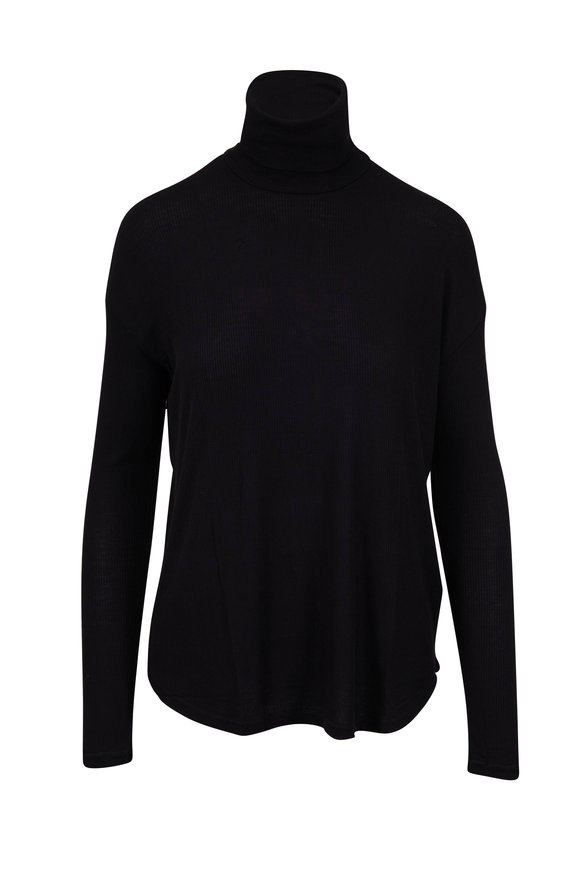 Majestic Black Superwashed Ribbed Turtleneck