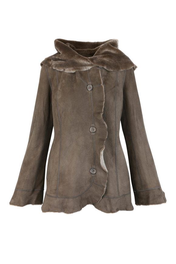 Viktoria Stass Beige Merino Shearling Reversible Hooded Coat