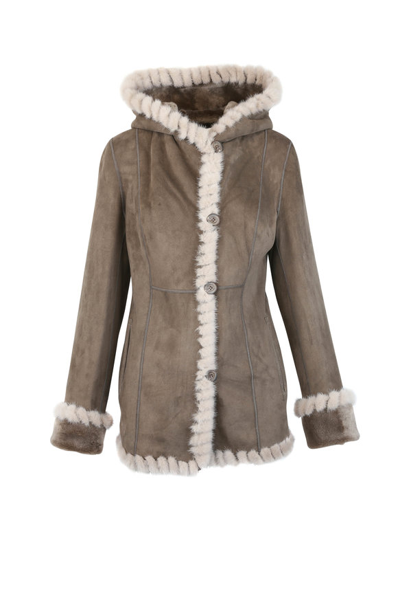 Viktoria Stass Beige Shearling & Mink Trim Hooded Coat