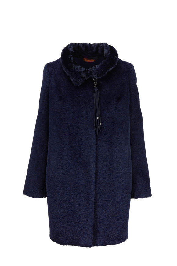 Viktoria Stass Navy Alpaca Mink Collar Coat