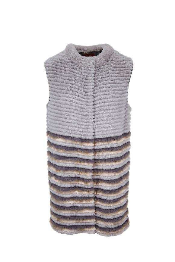 Viktoria Stass Gray & Peach Rex Rabbit & Mink Vest