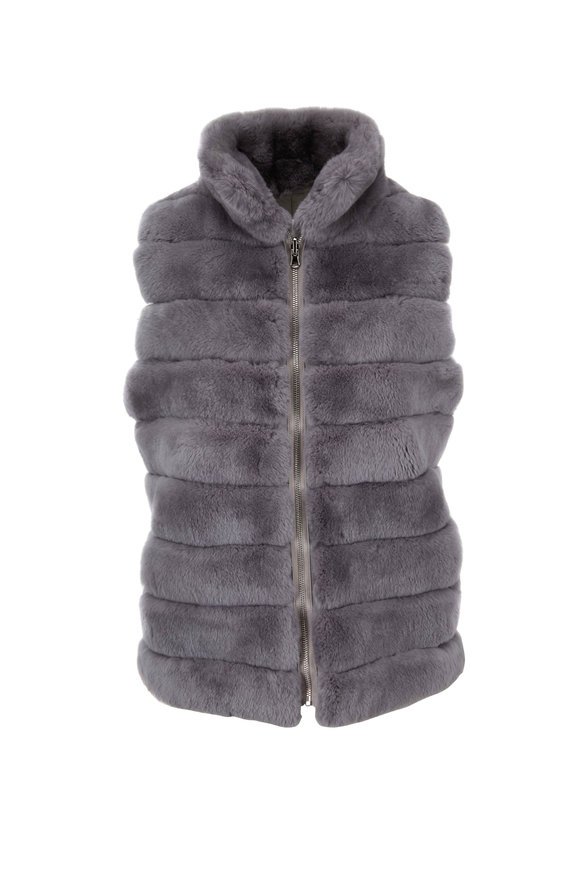 Viktoria Stass Gray Fur & Nylon Reversible Zip Vest