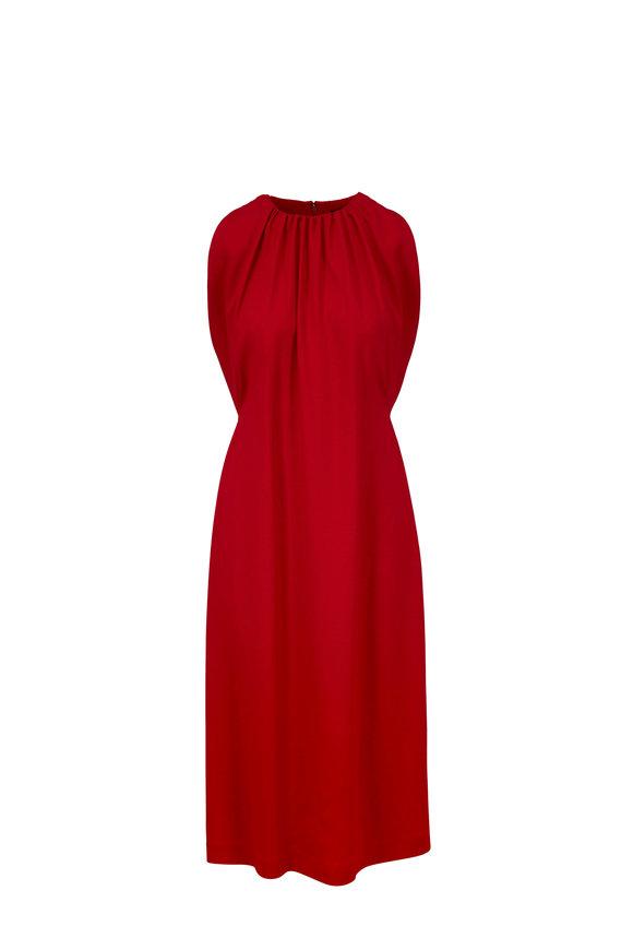 Derek Lam Red Crepe Plissé Back Sleeveless Dress