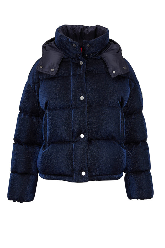 Moncler Caille Midnight Blue Lamé Puffer Jacket