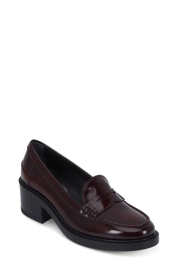 Tod's Burgundy Leather Block Heel Loafer, 50mm