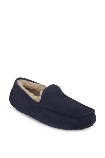 Ugg - Ascot Navy Blue Suede Shearling Lined Slipper