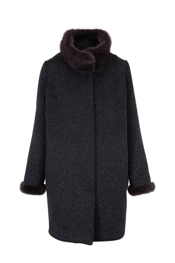 Viktoria Stass Charcoal Alpaca & Mink Trim Coat