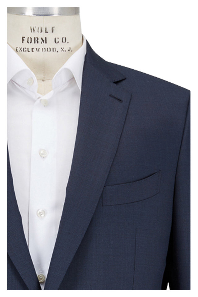 Solid Navy Blue Tic Weave Wool Suit