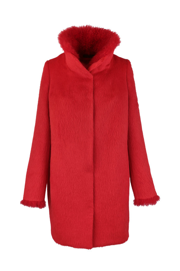 Viktoria Stass Red Alpaca & Cashmere Goat Trim Coat