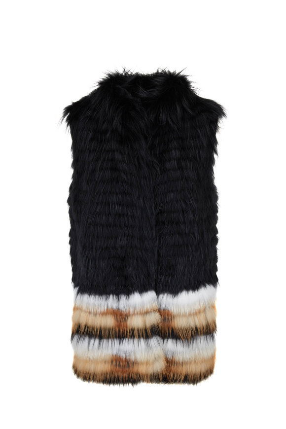 Viktoria Stass Black, White & Tan Fox Vest