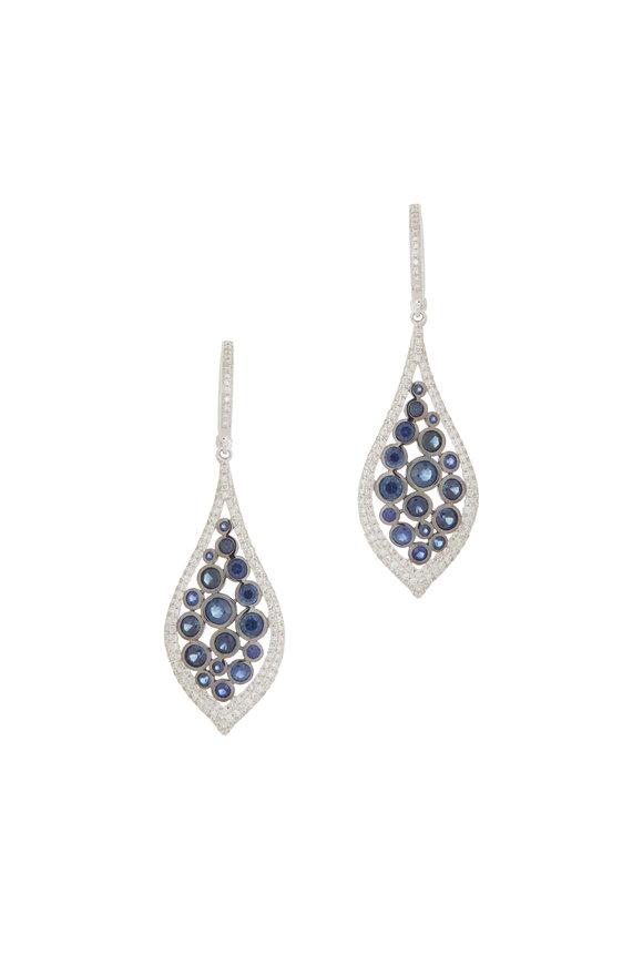 Cairo 18K White Gold Sapphire & Diamond Drop Earrings
