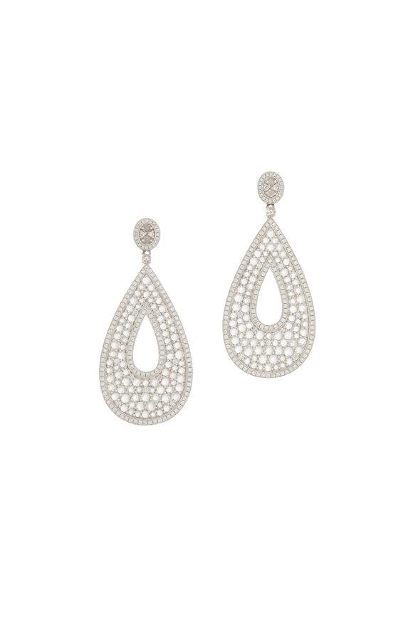Cairo 18K White Gold Diamond Drop Earrings