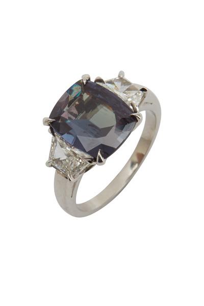 Oscar Heyman - Platinum Alexandrite White Diamond Cocktail Ring