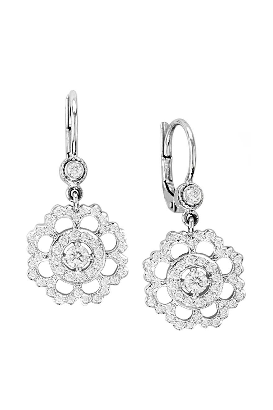 White Gold Diamond Scalloped Flower Earrings