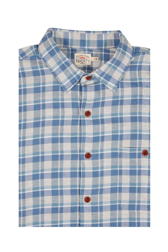 Faherty Brand Coast Blue Heather Plaid Sport Shirt