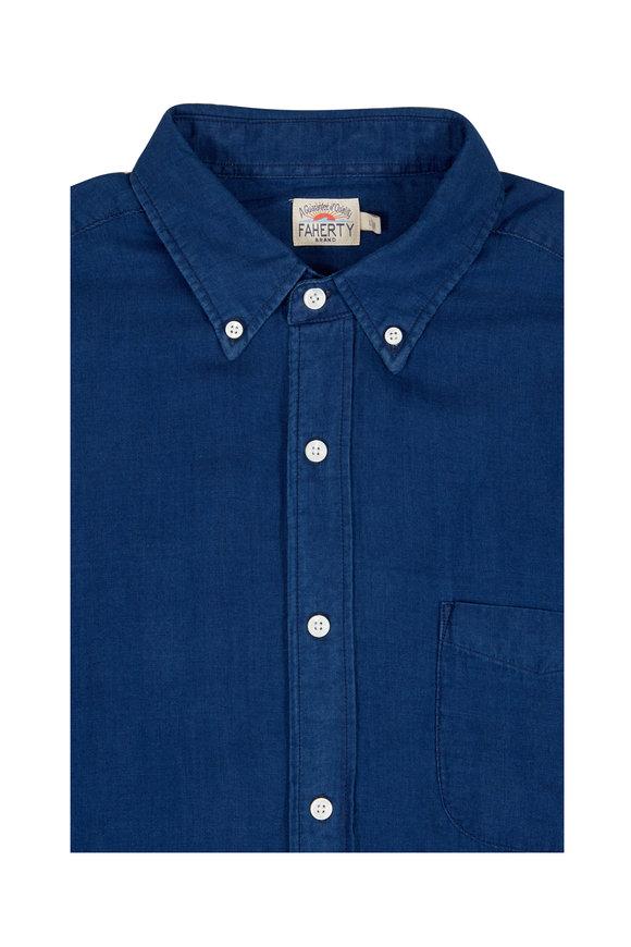 Faherty Brand Double Cloth Dark Indigo Pacific Shirt