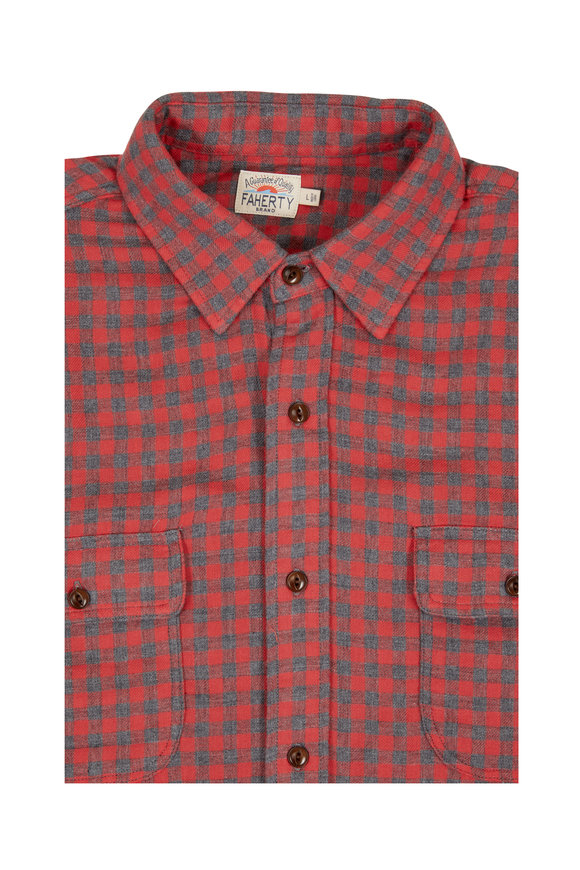 Faherty Brand Belmar Red Buffalo Plaid Sport Shirt