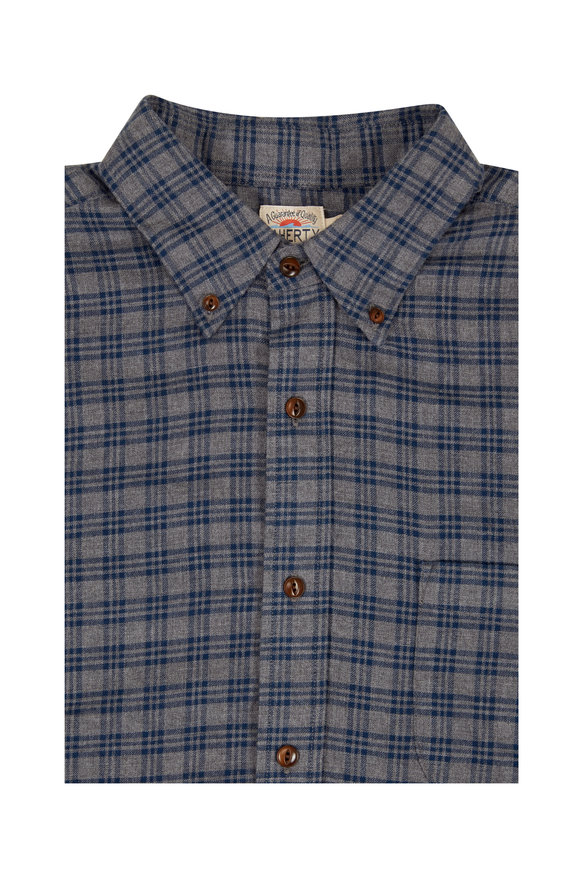 Faherty Brand Pacific Blue & Gray Plaid Sport Shirt