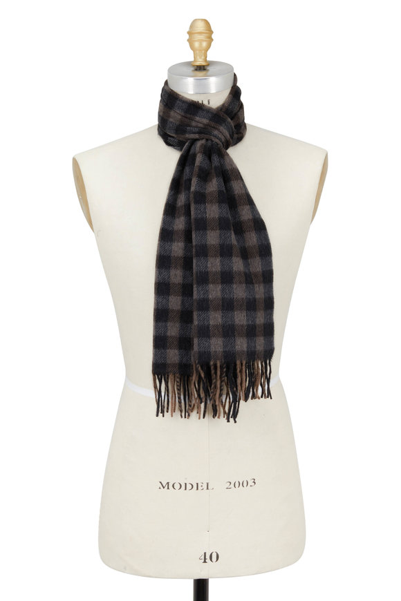 Chelsey Imports Charcoal Gray & Brown Check Cashmere Scarf