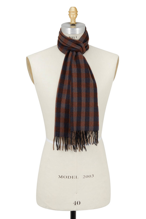 Chelsey Imports Burgundy & Charcoal Gray Check Cashmere Scarf
