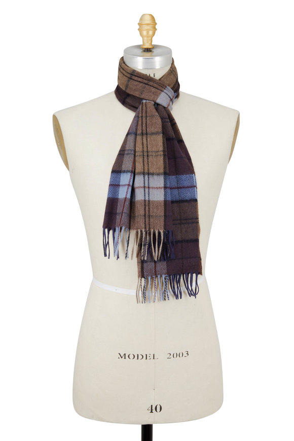 Chelsey Imports Brown & Blue Plaid Cashmere Scarf