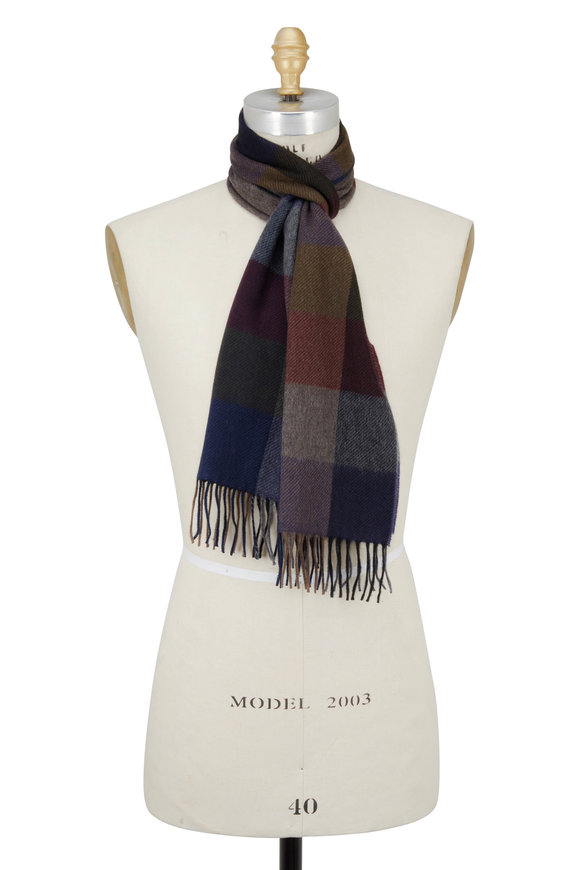 Chelsey Imports Blue & Burgundy Check Cashmere Scarf