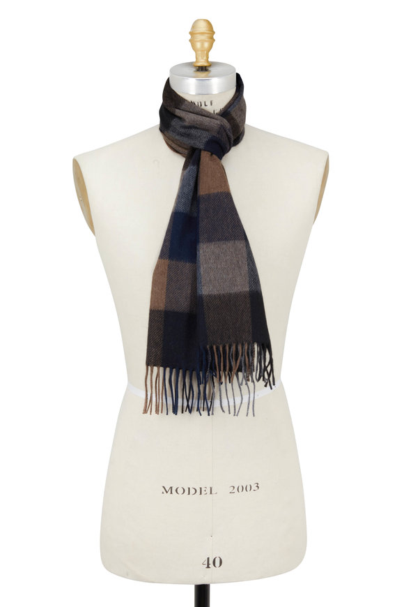 Chelsey Imports Blue & Taupe Plaid Cashmere Scarf