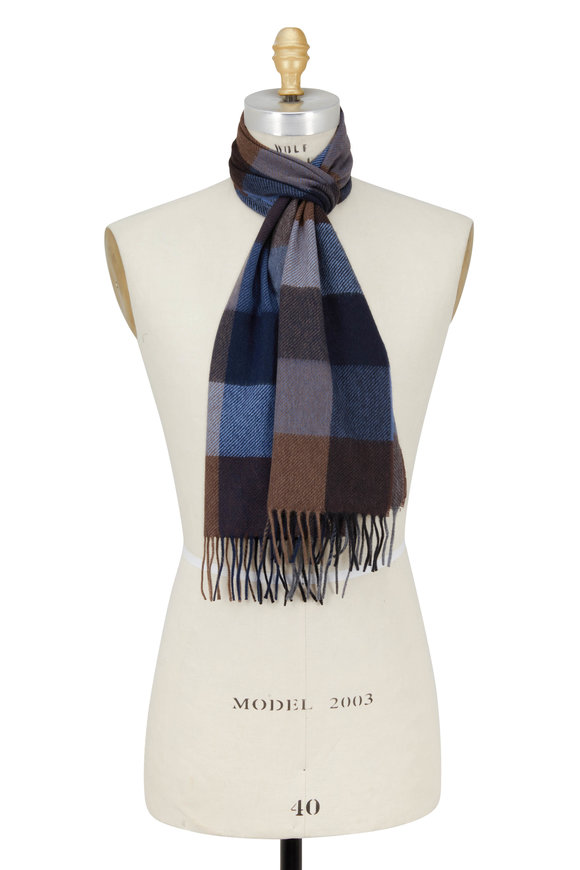 Chelsey Imports Blue & Brown Check Cashmere Scarf